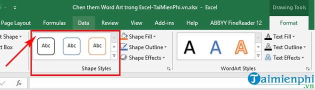 Guide to insert word art in Excel 7