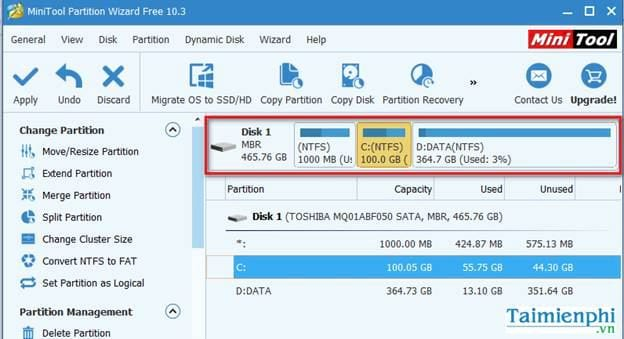 guide to share in minitool partition wizard 3