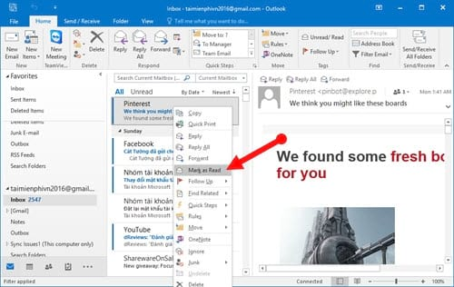 Guide to read emails on Microsoft Outlook 3