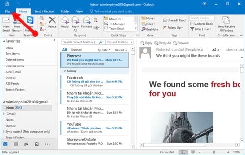 Guide to read emails on Microsoft Outlook 4