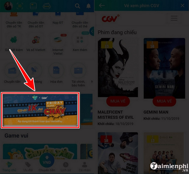 guide to buy movie tickets 1k cgv viettelpay 3