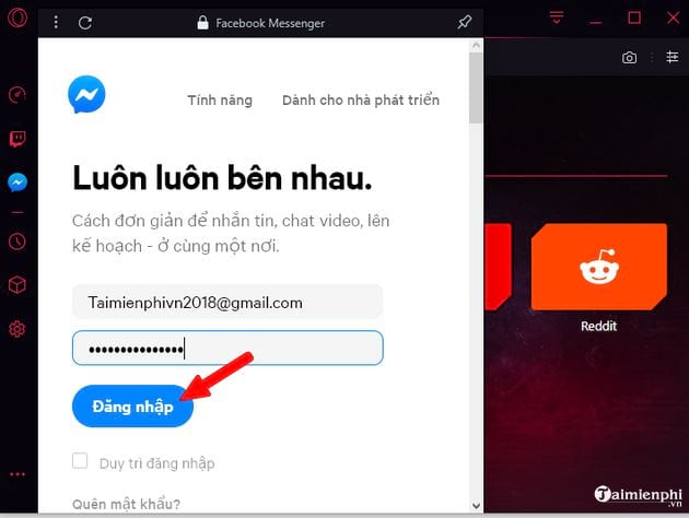 Guide to using Facebook Messenger on Opera GX 5