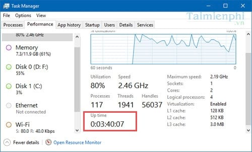 How to view the computer operating time on Windows 10 3