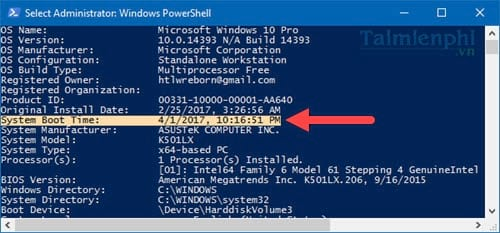 See the operating time of the computer on Windows 10 10