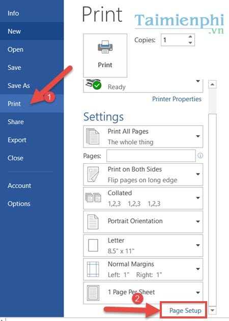 How to print 2 mat in word 2019