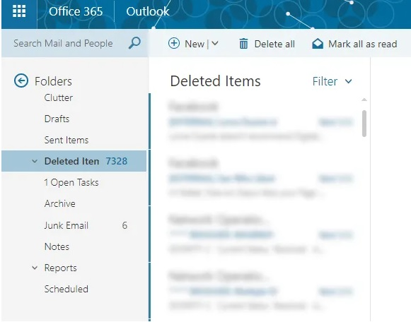 Delete emails deleted in Office 365 2