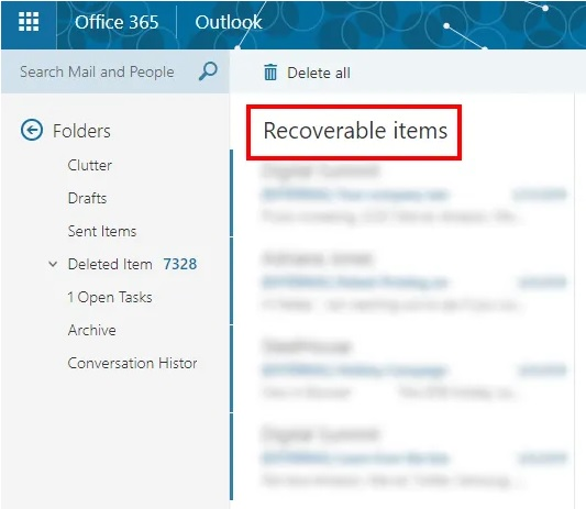 Delete emails deleted in Office 365 4