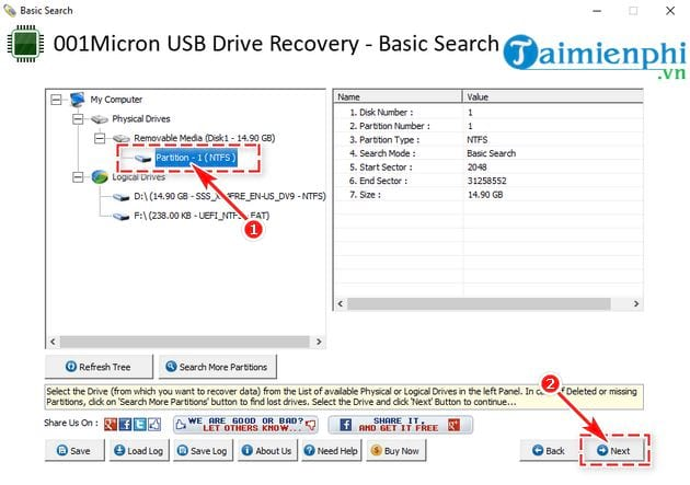Recover data with 001micron usb drive recovery 3