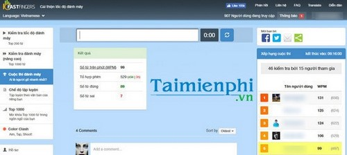 Collecting test results by Vietnamese language using the 10fastfinger website