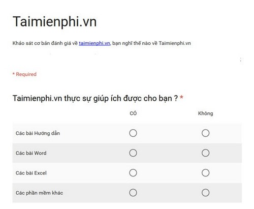 Choose the type of query type in gogle forms