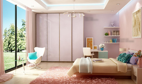 The design says that the room is beautiful and comfortable for girls