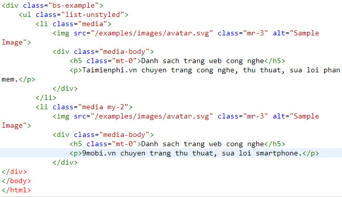 media object in bootstrap 11
