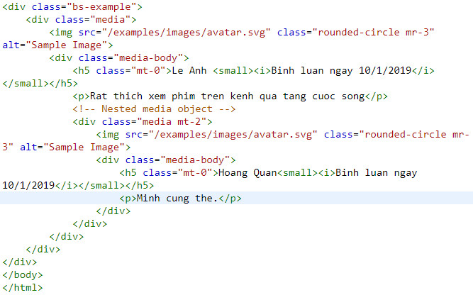 media object in bootstrap 5