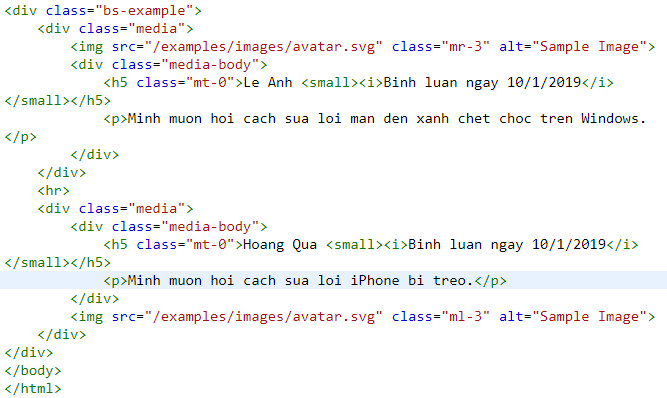 media object in bootstrap 7