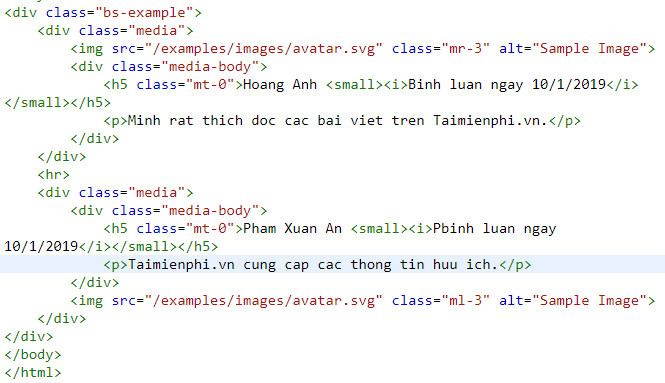 media object in bootstrap