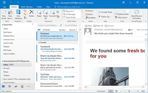 Guide to read emails on Microsoft Outlook 2