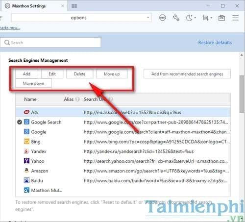manage the search results on the maxthon browser on windows 3