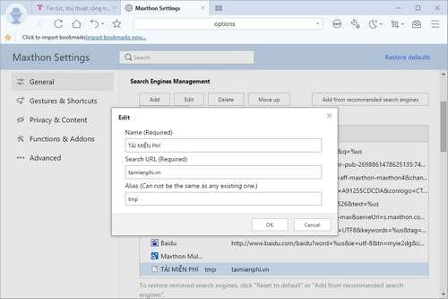 manage the search results on the maxthon browser on windows 4