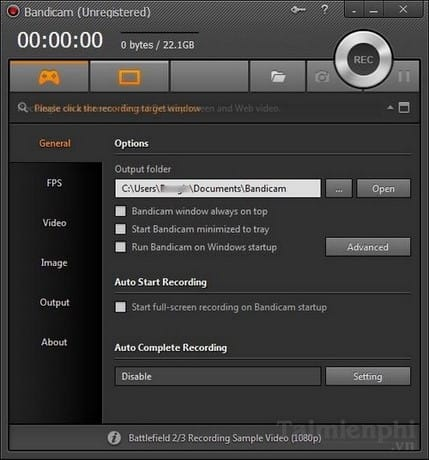 Record video with Bandicam screen
