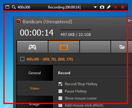 Record video screen with Bandicam computer