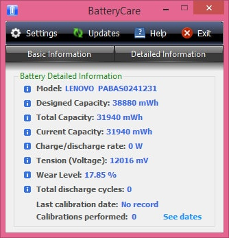 How to check the battery information on batterycare