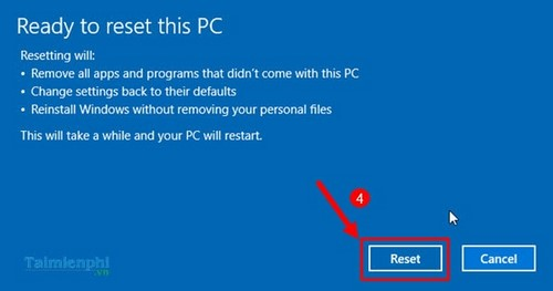 how to reset windows 10 to initial page