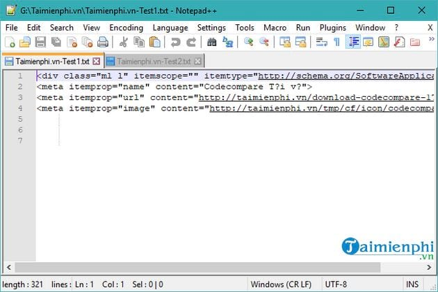 compose 2 text files using notepad 6