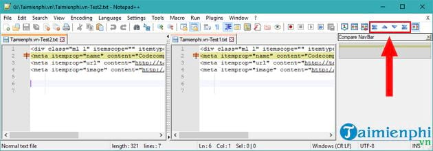 compose 2 text files using notepad 10