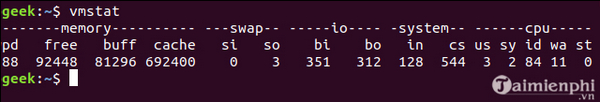 Using vmstat command on linux 3