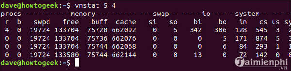 Using vmstat command on linux 7