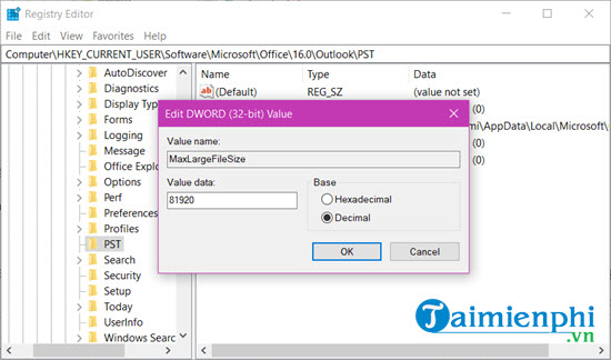 file size limit file pst len 80 gb in outlook 7