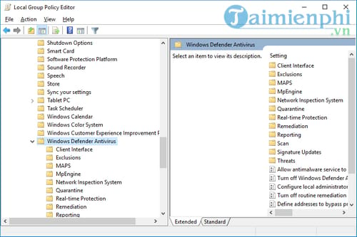 All windows defender states Local Group Policy