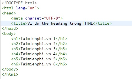 the heading in html