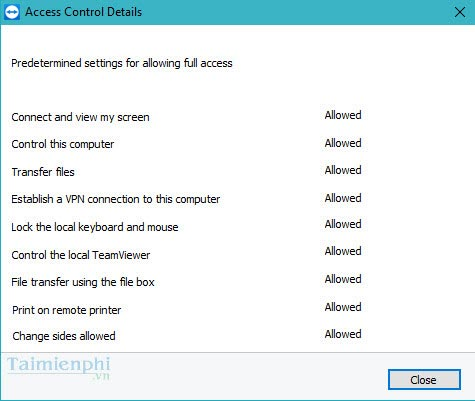 set the right to control teamviewer control