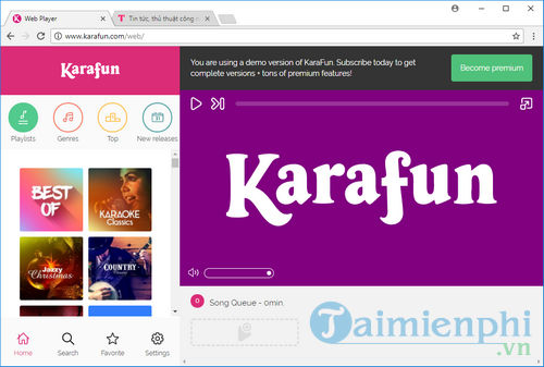 Karaoke web site on the KaraFun online computer