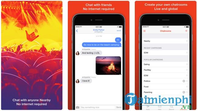 Free messaging application without internet for iPhone
