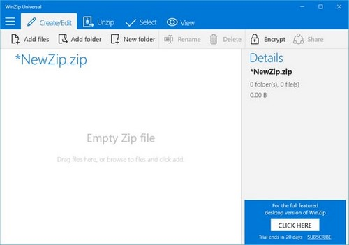 Using winzip with the operating system Windows 10