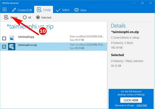 How to use winzip on Windows 10