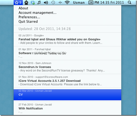 View and read email messages of gmail star from the menu bar on mac 2