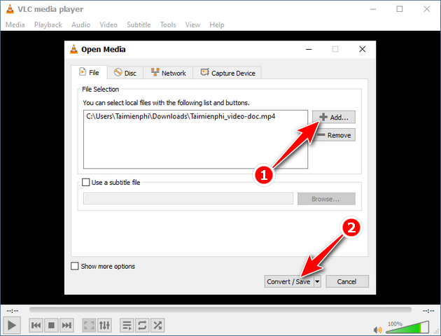 remove sound from video clip vlc 3