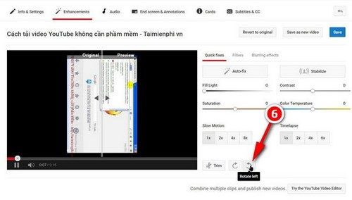 rotate the video from online source youtube