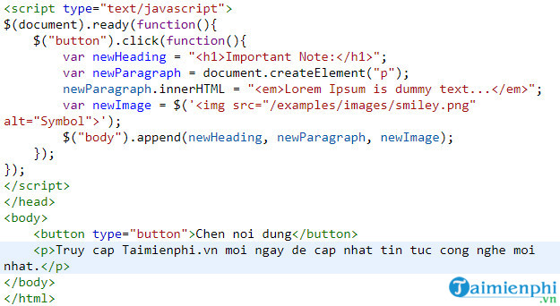 how to insert content into html file using jquery 5
