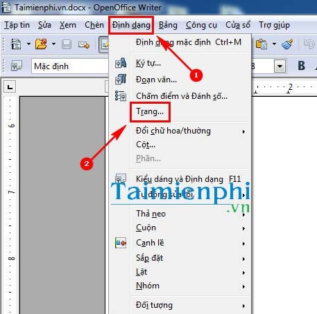 Select the size of the openoffice shoe